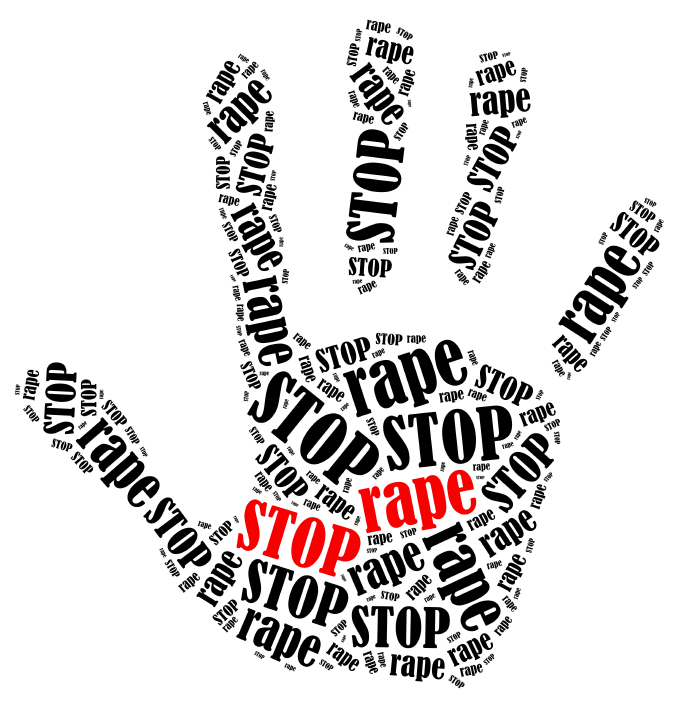 Stop rape. Word cloud illustration in shape of hand print showing protest.